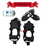 JSHANMEI Anti Skid Walk Ice Traction Cleat for Snow and Ice Climbing Shoe Spikes Grips Crampons Spikers Gripper Cleats Overshoes Winter Climbing No Slip Shoes Cover travel kits