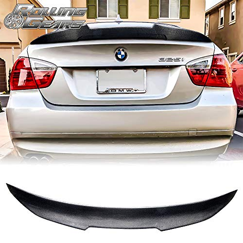 (Rolling Gears Carbon Fiber Rear Trunk Spoiler Fits BMW 3er E90 Sedan and M3 (High Kick Style))