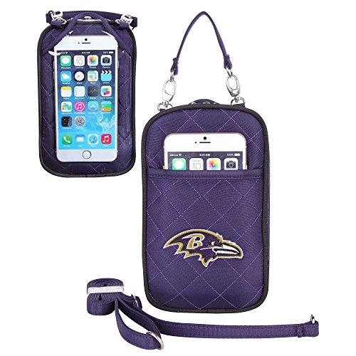(Charm14 NFL Baltimore Ravens Women's Crossbody Bag Quilt-Embroidered Logo-Fits All Phones by Little Earth)