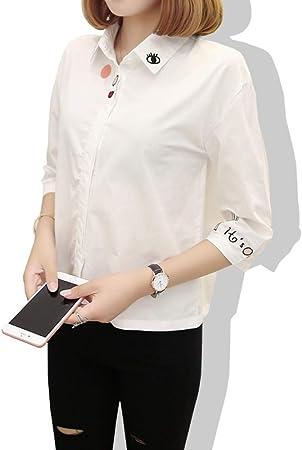 KCMCY Blusas Primavera Otoño Bordado Blusa Colegiala Manga Larga Camisa Blusa Todo-Fósforo En Verano, S: Amazon.es: Hogar