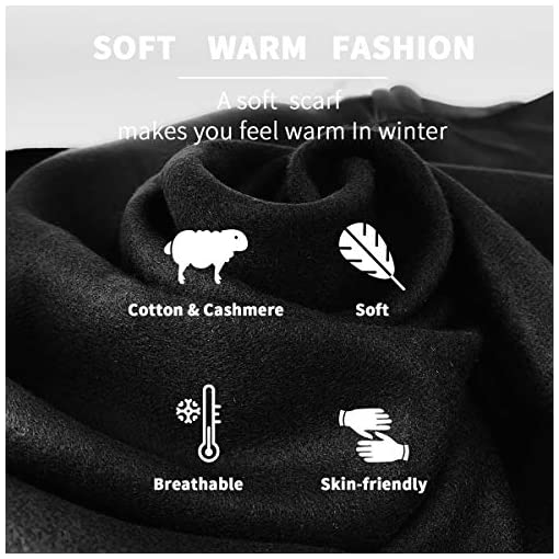 FULLRON Men Cashmere Scarf Silky Warm Cotton Scarves for Winter