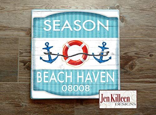 DASON New Jersey Beach Haven Beach Badge Wood Sign LBI Jersey Shore Art NJ Beach Decor Town Signs Beach House Sign