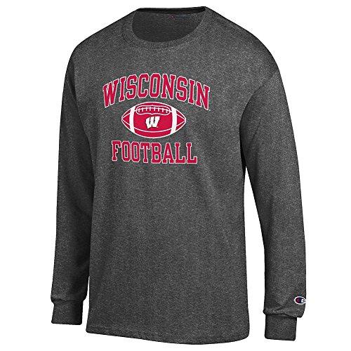 Badger Football T-shirt (Wisconsin Badgers Football Long Sleeve Tshirt Charcoal - L)