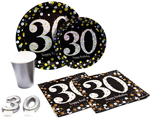 30th Birthday Pack! Disposable Paper Plates, Napkins, Cups & Candles Set for 15 (With free extras) ()