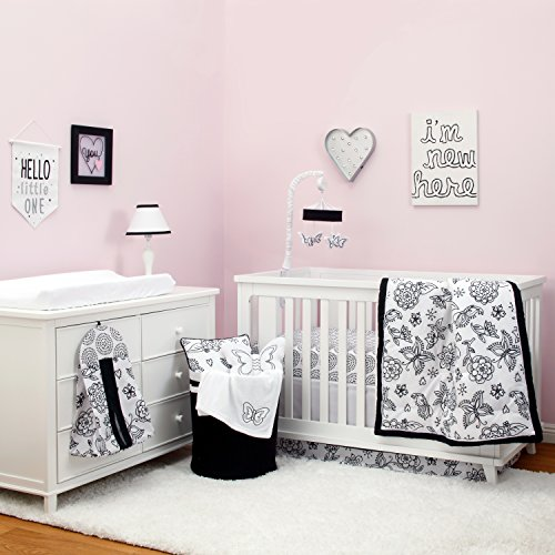 Baby White Down Comforter - NoJo Dreamer - Black/White Floral 8 Piece Comforter Set