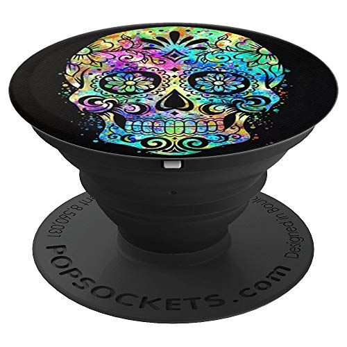 Cool Sugar Skull Mexican Design Colorful Paint Art on Black - PopSockets Grip and Stand for Phones and Tablets