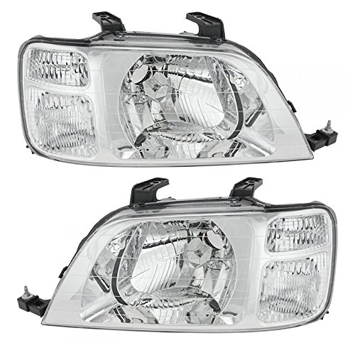 Headlights Headlamps Left & Right Pair Set for 97-01 Honda CR-V
