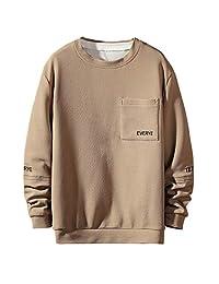Minikoad_Men Coat Men Plus Size T-Shirt Blouse Tops, Male Solid Long Sleeve Tunic Tops with Pocket Sweatshirt