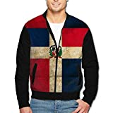 988Iron Dominican Republic Vintage Flag Men's Casual Sport Zip Outerwear Jacket