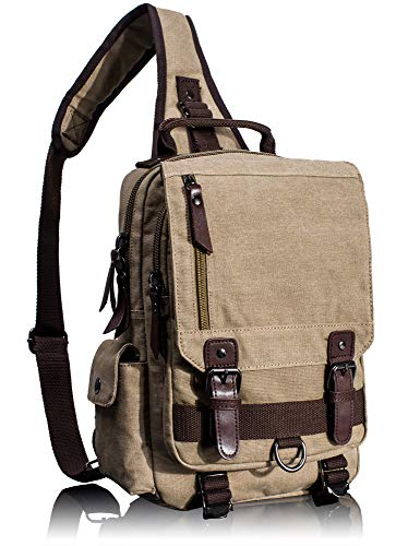 Leaper Canvas Messenger Bag Sling Bag Cross Body Bag Shoulder Bag Khaki, M