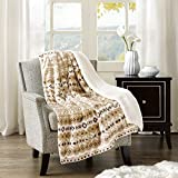 Comfort Spaces - Plush to Sherpa Blanket Throw - 50x60 inches - Fair Isle - Natural