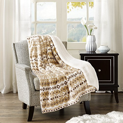 Comfort Spaces Sherpa/Plush Throw Blanket for Couch - 50x60 inches Lightweight Cozy Sofa Bed/Couch Throw for Beds Office Lap - Fair Isle - - Afghans Blue