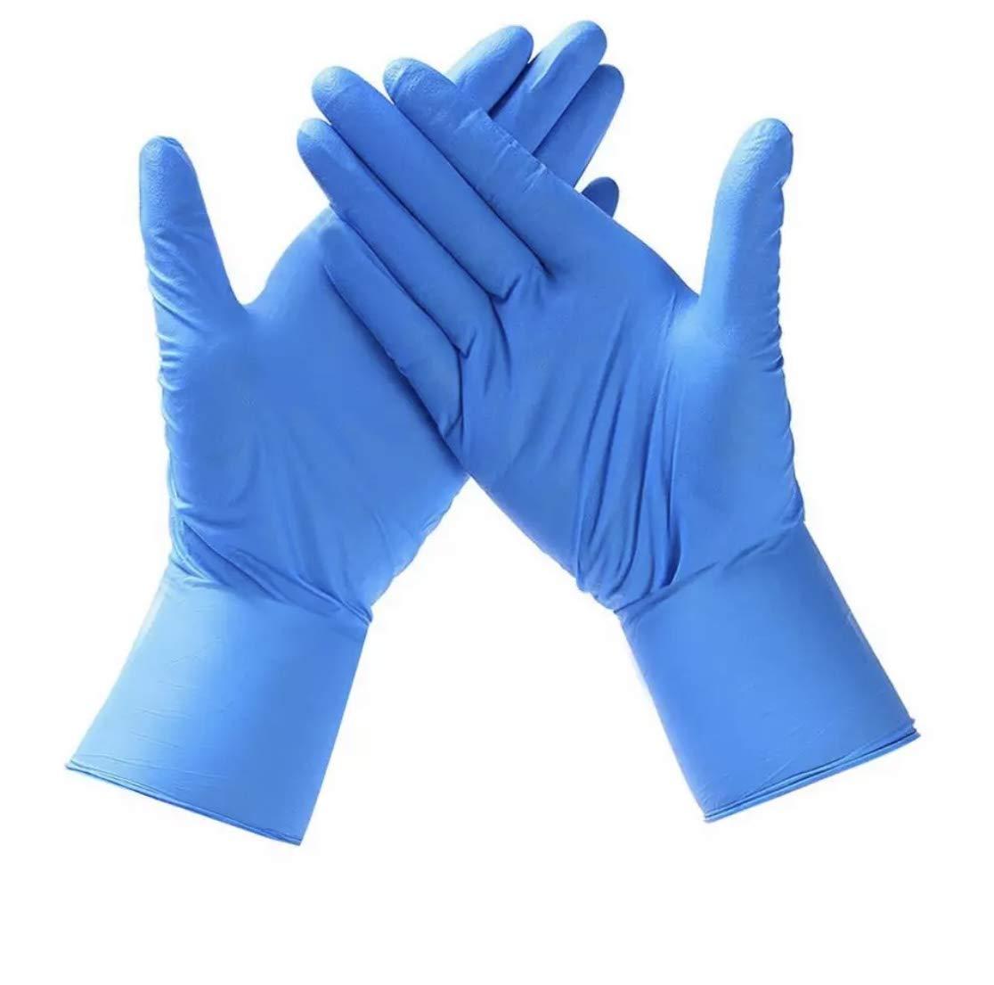 Guantes de Vinilo AZUL Guantes libres de látex sin polvo Limpieza Guantes sanitarios para la cocina, Limpieza, Seguridad, Manejo de alimentos, 100 pcs caja (TALLA M)