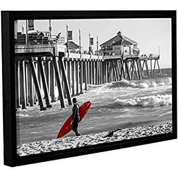 ArtWall Scott Campbell's Existential Surfing at Huntington Beach, Gallery Wrapped Floater-Framed Canvas 32x48