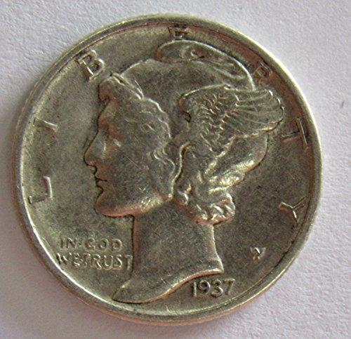 1937 D 90% Silver Mercury Dime 10c XF
