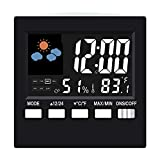 Digital Alarm Clock Led Desk Clock with Date Temperature humidity meter Backlight & Weather Channel Portable Travel