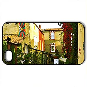 Colorful French Street - Case Cover for iPhone 4 and 4s (Houses Series, Watercolor style, Black)