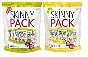 Skinny Pop 100 Calorie Bag 6-Pack 2 Flavor Variety Bundle: (1) Skinny Pop Plain, and (1) Skinny Pop White Cheddar, 3.9 Oz. Ea.