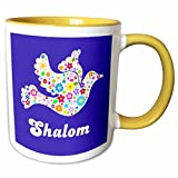 3dRose InspirationzStore Judaica - White floral dove of peace with Shalom text - flowery - flowers - Jewish - Hebrew - Judaism - 11oz Two-Tone Yellow Mug (mug_58350_8)