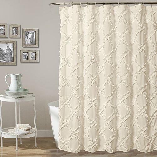 Lush Decor Ruffle Diamond Shower Curtain, Ivory