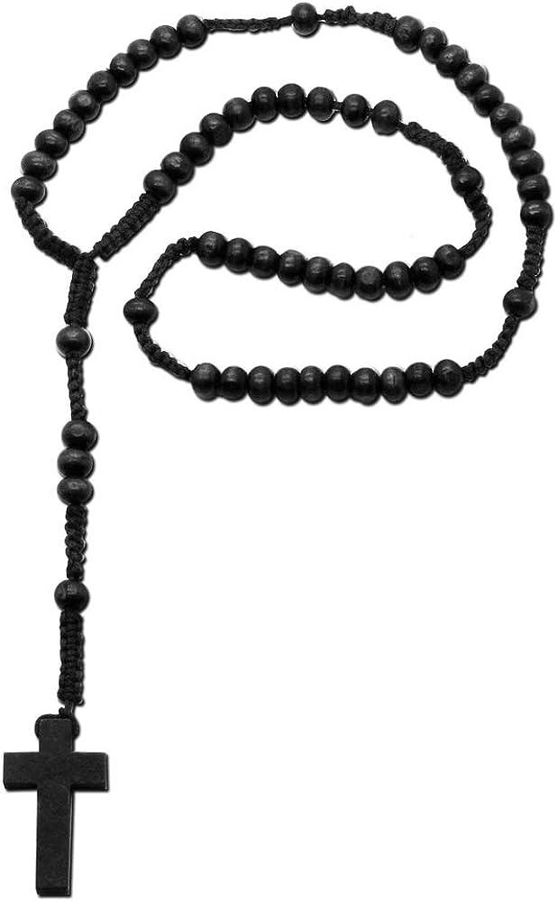 tumundo Rosario de Perlas Madera con Crucifijo 55 cm Negro Marrón Collar de Hombres Colgante Cruz Cadena