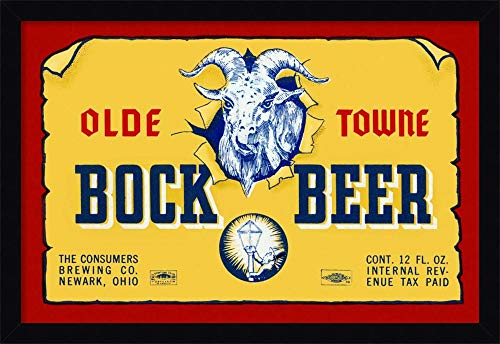 Framed Canvas Wall Art Print | Home Wall Decor Canvas Art | Olde Towne Bock Beer by Vintage Booze Labels | Modern Decor | Stretched Canvas Prints