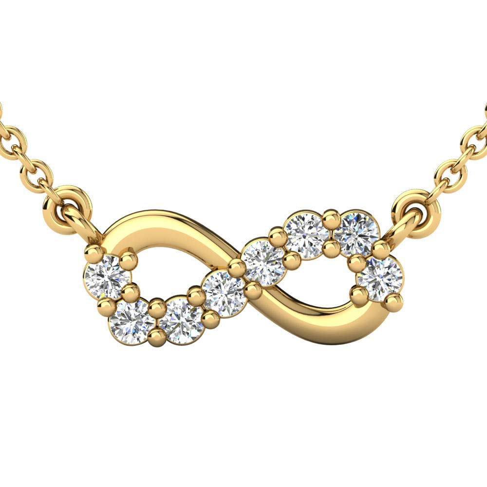 Ringjewels Infinity Pendant Necklace W//18 Chain 0.24 Cts Sim Clear Diamond in 14K Gold Plated Silver