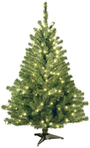 Spruce Christmas Trees - National Tree 4 Foot Kincaid Spruce Tree with 100 Clear Lights (KCDR-40LO-S)