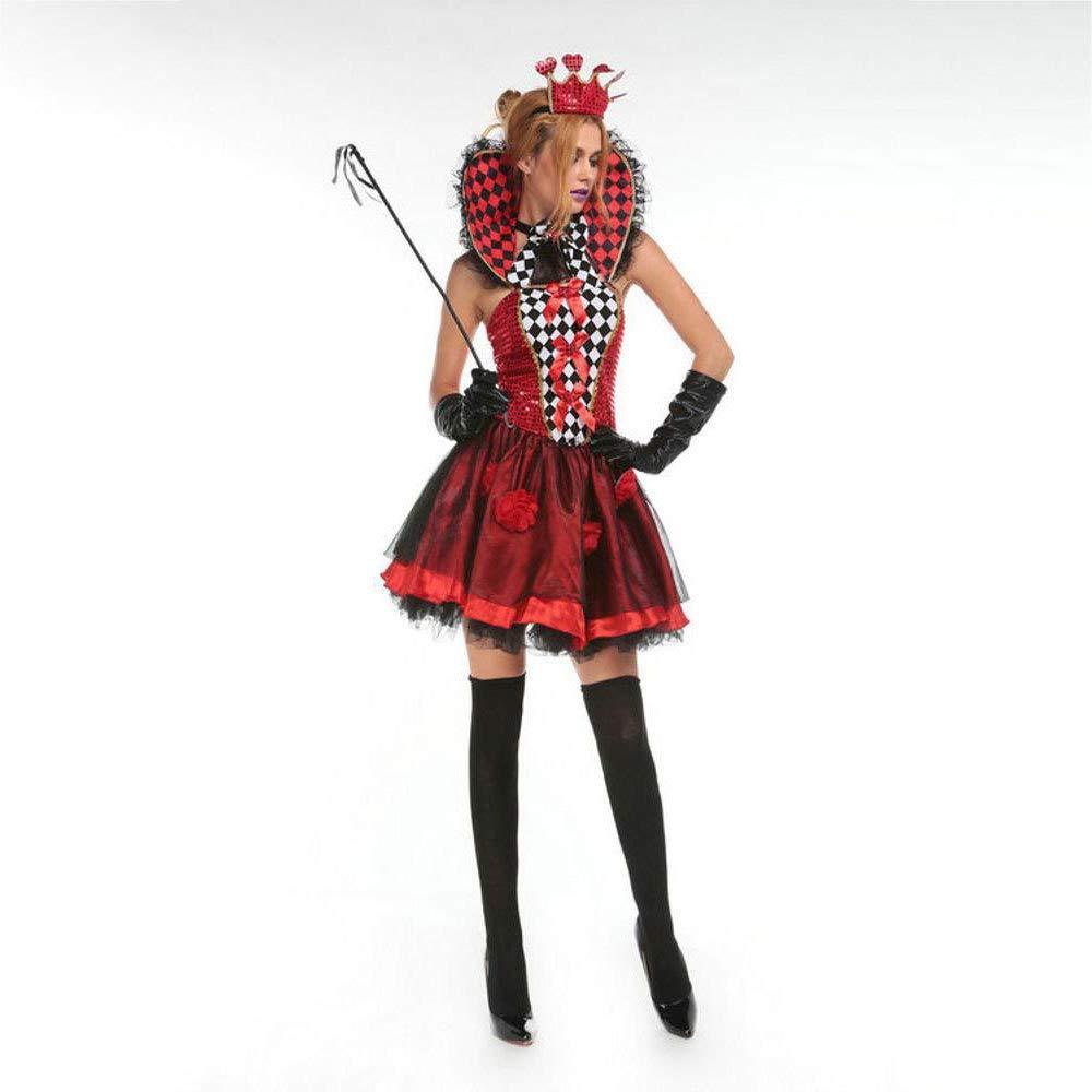Olydmsky karnevalskostüme Damen Mädchen Poker Queen Spiel Uniformen Halloween Cosplay Tag Maskerade Geisterkostüm