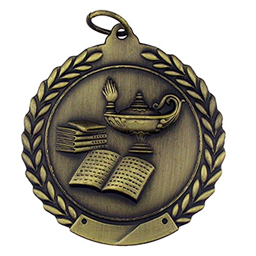 3d Diecast Medals - PinMart Lamp of Knowledge Award Gold Medal