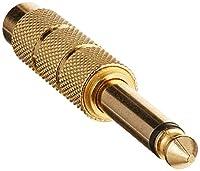 Monoprice 107170 6.35-mm Mono Plug to 6.35-mm Mono Jack Adaptor, Gold Plated