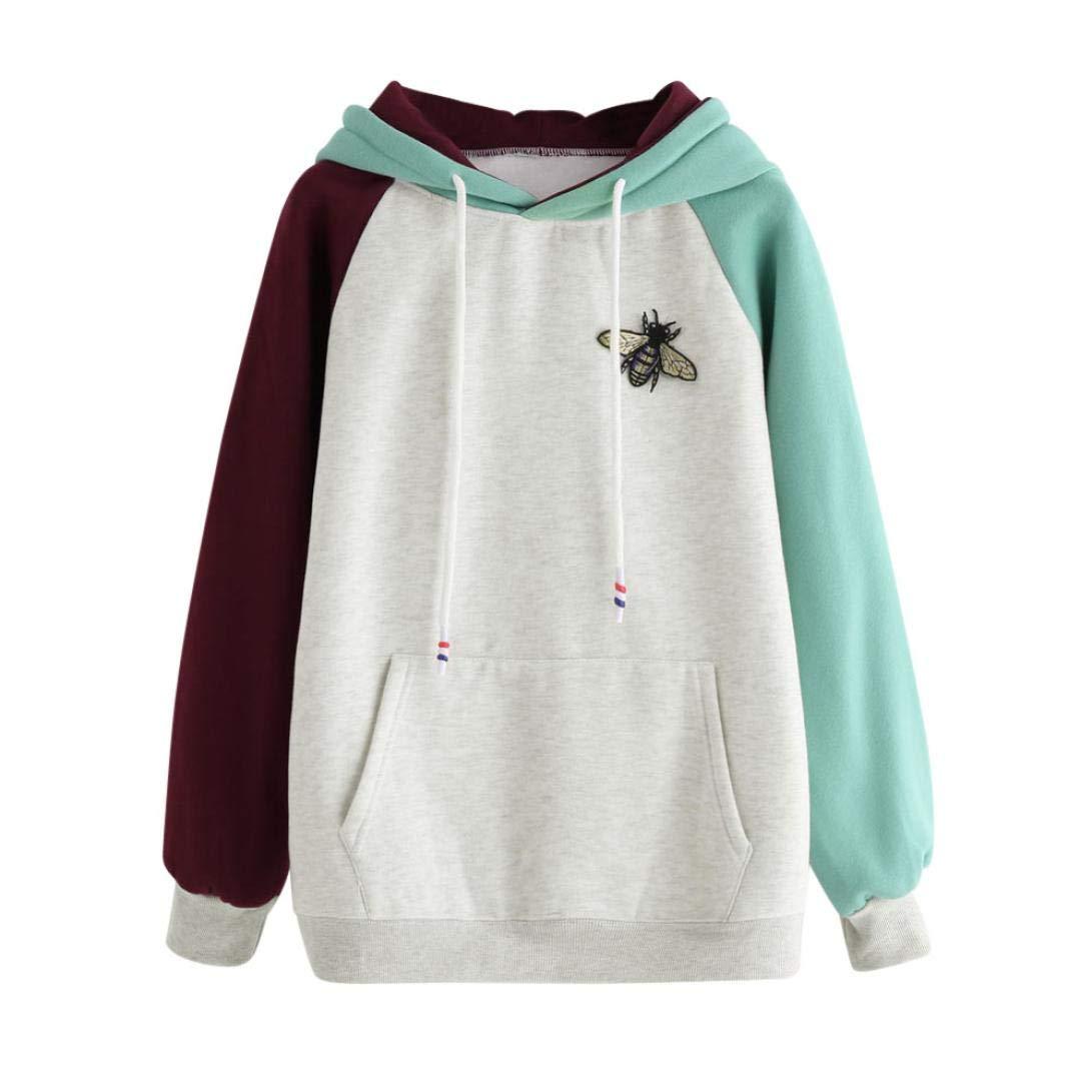 Amazon.com: Women Long Sleeve Patchwork Hoodies Sweatshirt Pocket Bee O Neck Drawstring Jumper Tops Blouse: Sports & Outdoors