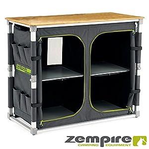 Zempire Design XXL Campingschrank mit Einer natürlichen und wetterfesten Bambusplatte, vollständig Faltbar + Extrem…