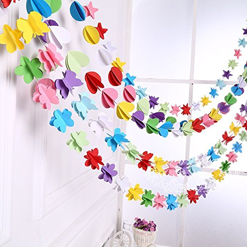 Since Colorful Hanging Paper Garlands Flora String Wedding Party Birthday Baby Decoration - Set of 4 (Round)
