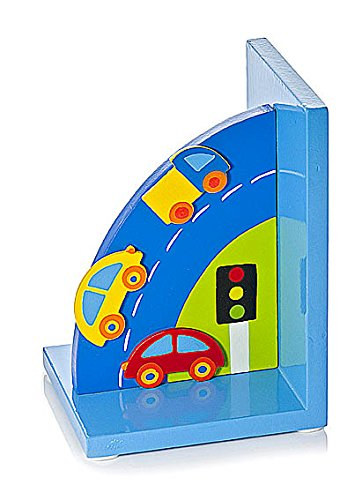 Mousehouse Gifts Kids Blue Wooden Car Themed Bookends for Boys Bedroom or Nursery