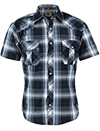 Coevals Club Men's Snap Button Down Relaxed Fit Plaid Short Sleeve Work Casual Shirt