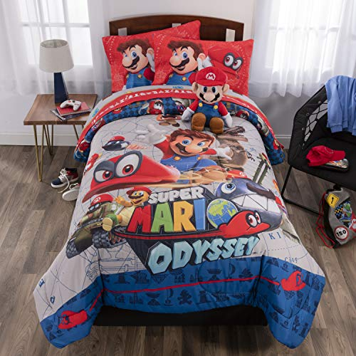 Nintendo Super Mario Odyssey Soft Microfiber Comforter, Sheets and Plush Cuddle Pillow Kids Bedding Set Full Size 6 Piece Bundle Pack Full Size 6 Piece Bundle Pack