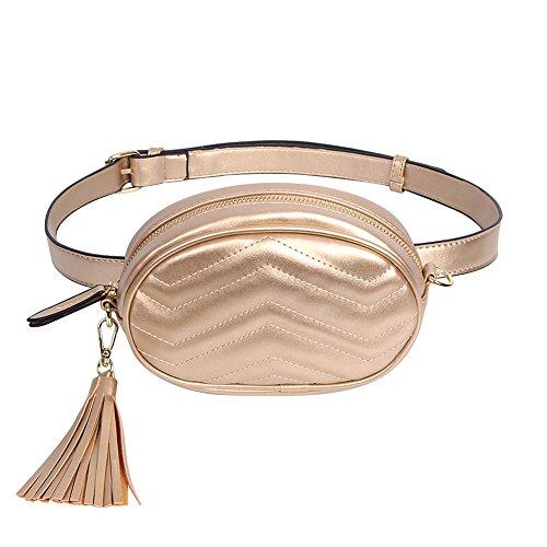 Elegant Women Badiy Bag Gold Money Pack Belt Phone Leather Cell Waist Fanny Pouch Blue HdqXXAwr