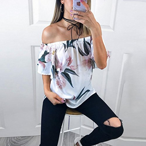 Up Blanc Tefamore Femmes Deep Sexy V manches courtes Shirt Neck Casual Blouse Lace Tops Fashion T 1CwSECxq4