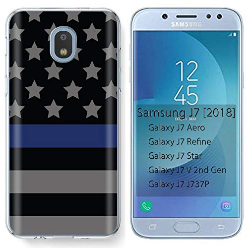 ([Mobiflare] Samsung Galaxy (J7 2018) (J737) [J7 Aero / J7 Star / J7 Refine / J7 Top,] Ultraflex Thin Gel Phone Cover [Blue Line Stars Print])