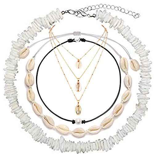 (URSKYTOUS Puka Shell Necklace White Conch Choker Necklace Dainty Cowrie Chain Pendant Hawaiian Beach Jewelry Puka Shell/Pearl/Seashell/Layered Shell Necklace Set for Women Girls)