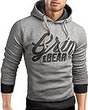 Grin&Bear Slim Fit Hoodie Jacket heavy duty embroidery Sweatshirt, grey melange, XL, GEC469