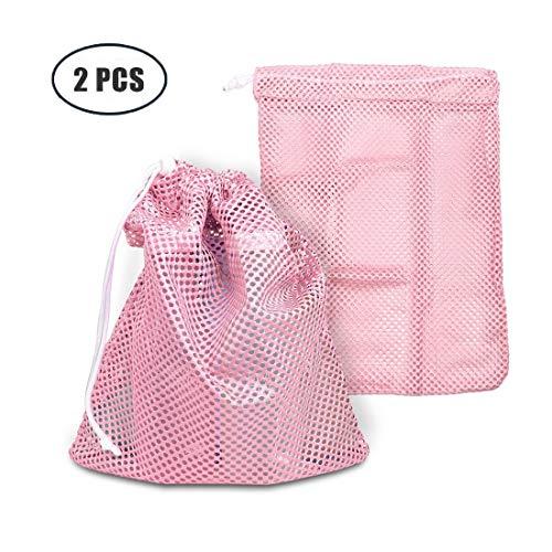 2 pcs Heavy Duty Laundry Nylon Mesh Stuff Sack Bag with Slid