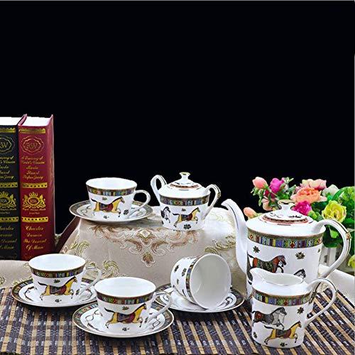 (GAOXIAOMEI Ceramic Tea Set European Coffee Cup Set Teacup British Palace Horse Map Bone China Pot)