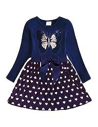 DXTON Little Girl Children Kid Long Sleeve Flower Cotton Dresses for 2-8T