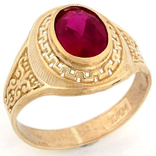 10k Solid Yellow Gold 8x6 Oval Simulated Ruby July Birthstone Unisex (Solid Yellow Gold Ruby Ring)