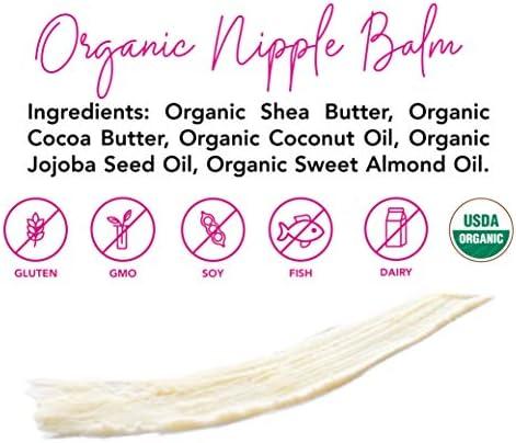 51zbaM7 DDL. AC - Pink Stork Nipple Cream: 100% Organic Breastfeeding Essentials With Jojoba Oil, Coconut Oil, Shea Butter, Lanolin Free, Heals Cracks + Pains, Women-Owned, 1 Oz