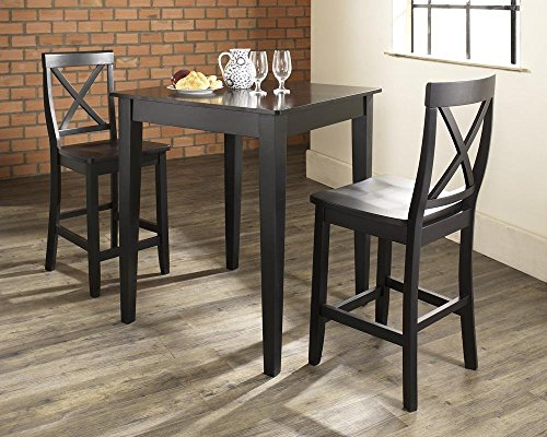 Buy crosley tapered leg pub table in black finish.
