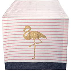 "DII Cotton Table Runner for Summer, Garden Party, Outdoor BBQ or Tropical Themed Wedding - 14x72"", Golden Flamingo"