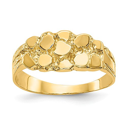 - JewelrySuperMartCollection 14k Yellow Gold Nugget Ring (8mm Width) - Size 6